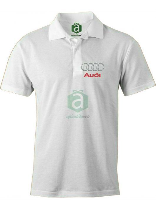 Audi XXL-es fehér férfi galléros póló