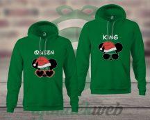 Queen King karácsonyi páros kaapucnis pulóver
